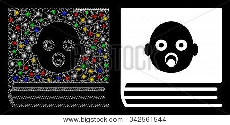 Glowing Mesh Baby Album Icon With Glow Effect. Abstract Illuminated Model Of Baby Album. Shiny Wire