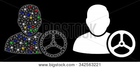 Glossy Mesh Driver Wheel Icon With Glare Effect. Abstract Illuminated Model Of Driver Wheel. Shiny W