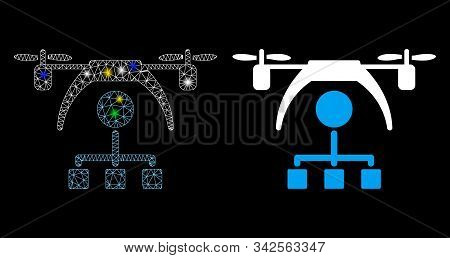 Glossy Mesh Copter Distribution Scheme Icon With Glitter Effect. Abstract Illuminated Model Of Copte