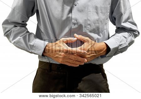 Elderly Man Holding His Stomach In Pain Isolated On A White Background. Elderly Man Suffering From A