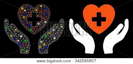 Flare Mesh Cardiology Care Hands Icon With Glow Effect. Abstract Illuminated Model Of Cardiology Car