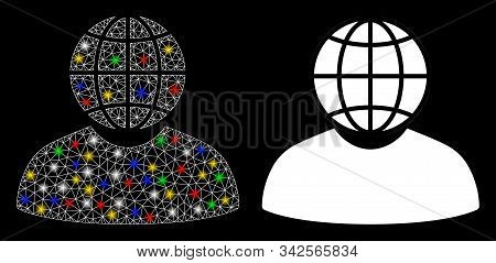 Flare Mesh Global Politician Icon With Glitter Effect. Abstract Illuminated Model Of Global Politici