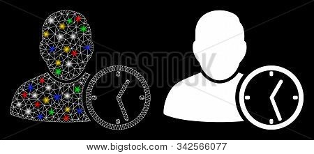 Glossy Mesh User Temporary Clock Icon With Lightspot Effect. Abstract Illuminated Model Of User Temp