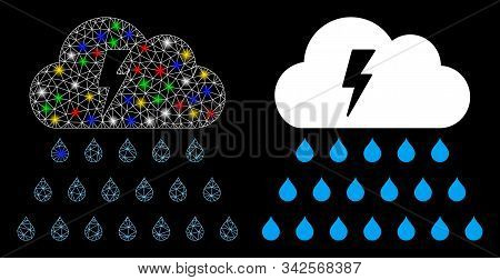Glowing Mesh Thunderstorm Rain Cloud Icon With Lightspot Effect. Abstract Illuminated Model Of Thund