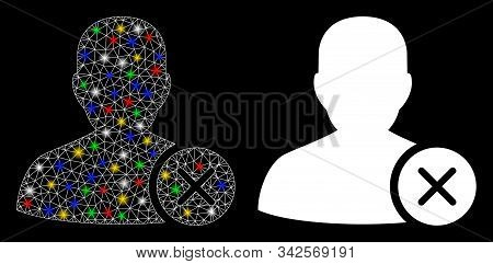 Flare Mesh User Erase Icon With Glitter Effect. Abstract Illuminated Model Of User Erase. Shiny Wire