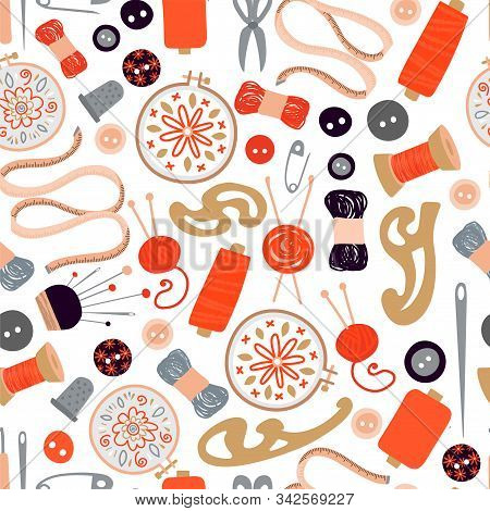 Vector Seamless Pattern With Items And Materials For Sewing, Capturing And Embroidery. Colorful Vect