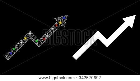 Flare Mesh Growth Trend Chart Icon With Lightspot Effect. Abstract Illuminated Model Of Growth Trend