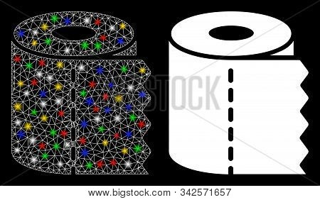 Glowing Mesh Toilet Paper Roll Icon With Lightspot Effect. Abstract Illuminated Model Of Toilet Pape