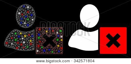 Glossy Mesh Close User Icon With Glow Effect. Abstract Illuminated Model Of Close User. Shiny Wire C
