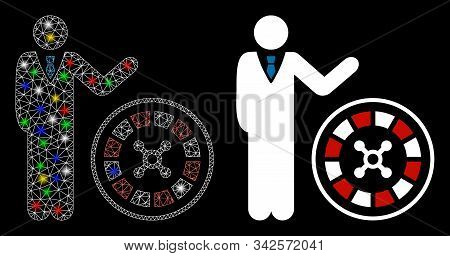 Glossy Mesh Roulette Croupier Icon With Lightspot Effect. Abstract Illuminated Model Of Roulette Cro
