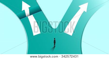Minimalist Style. Businessman Chooses Direction And A New Way. New Idea, Change, Trend, Courage, Cre