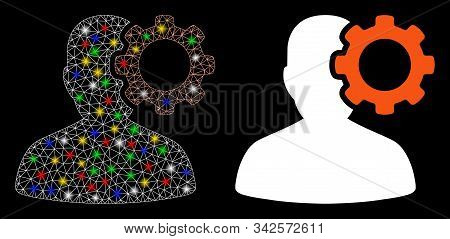 Glowing Mesh Migraine Icon With Glow Effect. Abstract Illuminated Model Of Migraine. Shiny Wire Fram