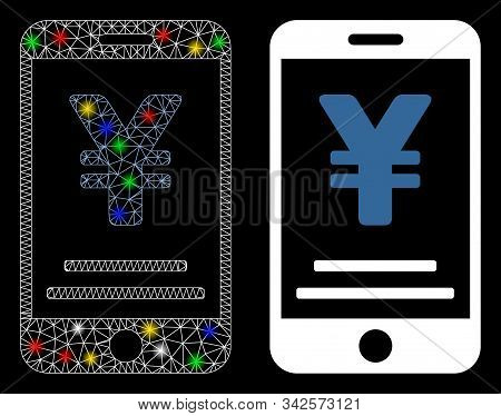 Glossy Mesh Yen Mobile Payment Icon With Lightspot Effect. Abstract Illuminated Model Of Yen Mobile