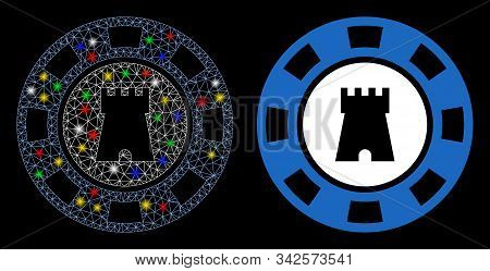 Flare Mesh Bulwark Casino Chip Icon With Glow Effect. Abstract Illuminated Model Of Bulwark Casino C