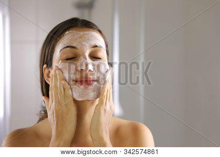 Skincare Woman Washing Face  Foaming Facewash Soap Scrub On Skin. Face Wash Exfoliation Scrub Soap W