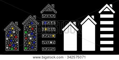 Flare Mesh Realty Trend Icon With Sparkle Effect. Abstract Illuminated Model Of Realty Trend. Shiny