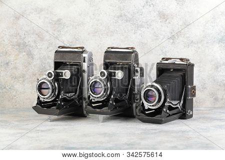 Old Soviet Medium Format Rangefinder Camera Moskva-3, Moskva-4 And Moskva-5, Released 1951, 1956, 19