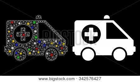Flare Mesh Ambulance Van Icon With Lightspot Effect. Abstract Illuminated Model Of Ambulance Van. Sh