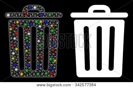 Bright Mesh Dustbin Icon With Glow Effect. Abstract Illuminated Model Of Dustbin. Shiny Wire Frame T