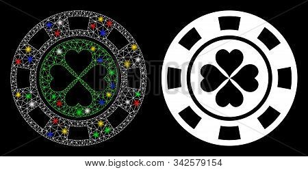 Bright Mesh Luck Casino Chip Icon With Glare Effect. Abstract Illuminated Model Of Luck Casino Chip.