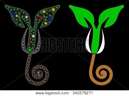 Glossy Mesh Plant Sprout Icon With Glare Effect. Abstract Illuminated Model Of Plant Sprout. Shiny W