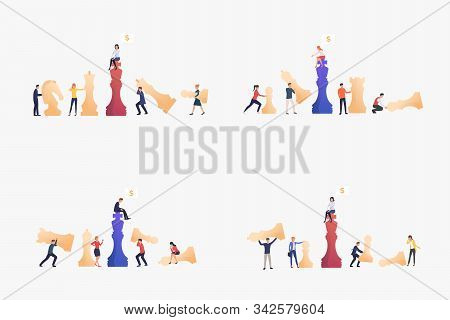 Businesspeople Playing Chess Set. Chessman, Piece, Team. Flat Vector Illustrations. Business, Teamwo