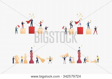 Competitive Employees Set. Colleagues Playing Chess, Winning Awards. Flat Vector Illustrations. Busi