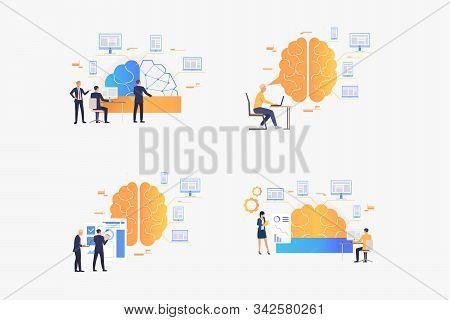 Intellectual Work Set. Businesspeople Thinking Over Ideas, Startup Projects. Flat Vector Illustratio