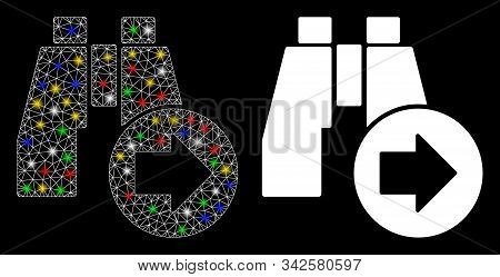 Glossy Mesh Find Next Binoculars Icon With Sparkle Effect. Abstract Illuminated Model Of Find Next B