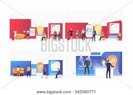 Startup Presentation Set. Team Presenting Reports And Graphs To Partners. Flat Vector Illustrations.