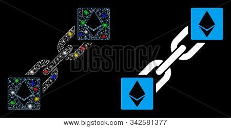 Glowing Mesh Ethereum Blockchain Icon With Glitter Effect. Abstract Illuminated Model Of Ethereum Bl
