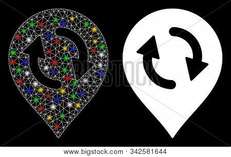 Glossy Mesh Refresh Map Marker Icon With Glow Effect. Abstract Illuminated Model Of Refresh Map Mark