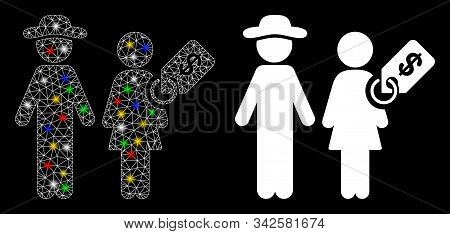 Flare Mesh Marriage Of Convenience Icon With Lightspot Effect. Abstract Illuminated Model Of Marriag