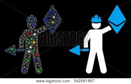 Bright Mesh Ethereum Miner Icon With Glitter Effect. Abstract Illuminated Model Of Ethereum Miner. S