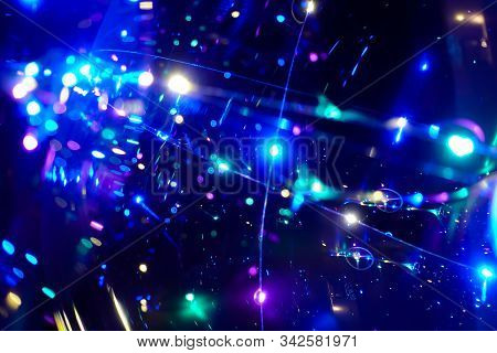 Colored Lights On A Dark Background. Abstract Dark Background. Space Emulation