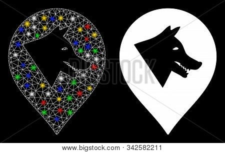 Glowing Mesh Evil Dog Marker Icon With Glow Effect. Abstract Illuminated Model Of Evil Dog Marker. S
