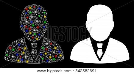 Glowing Mesh Boss Icon With Glitter Effect. Abstract Illuminated Model Of Boss. Shiny Wire Frame Pol