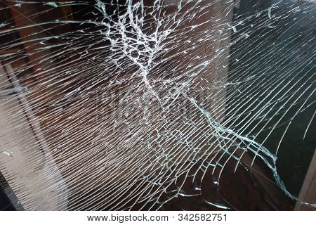 Broken Glass Front Door Windows Of A Main Residential House. Made With Hammer By Thief. Vandalism, I