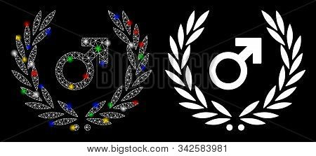 Glossy Mesh Male Symbol Laurel Wreath Icon With Glare Effect. Abstract Illuminated Model Of Male Sym