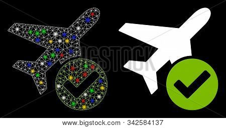 Glowing Mesh Aircraft Ok Icon With Glitter Effect. Abstract Illuminated Model Of Aircraft Ok. Shiny