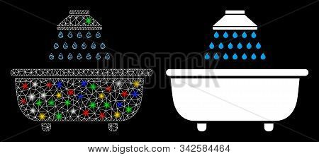 Glowing Mesh Bath Shower Icon With Lightspot Effect. Abstract Illuminated Model Of Bath Shower. Shin