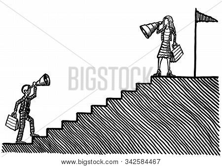 Drawing Of Business Woman At Goal Post Atop Staircase Looking With Hindsight Back Down To A Male Com