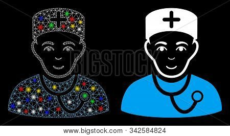 Flare Mesh Physician Icon With Sparkle Effect. Abstract Illuminated Model Of Physician. Shiny Wire F