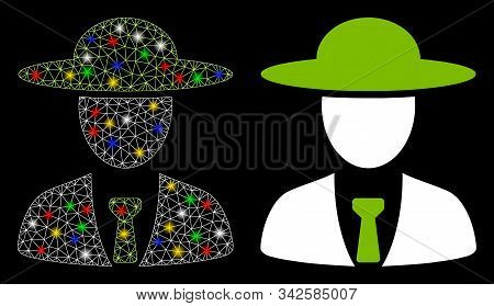 Flare Mesh Agronomist Chief Icon With Glow Effect. Abstract Illuminated Model Of Agronomist Chief. S