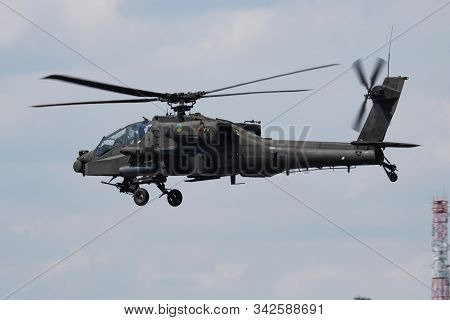 Fairford / United Kingdom - July 12, 2018: Netherlands Air Force Boeing Ah-64d Apache Q-29 Attack He