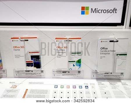 Montreal, Canada - December 26, 2019: Microsoft Office 365 Cards On Shelf In Store. Microsoft Office