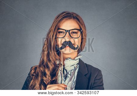 Close Up Portrait Head Shot Beautiful, Pretty Young Woman Imitating A Serious Man. Attractive Girl H