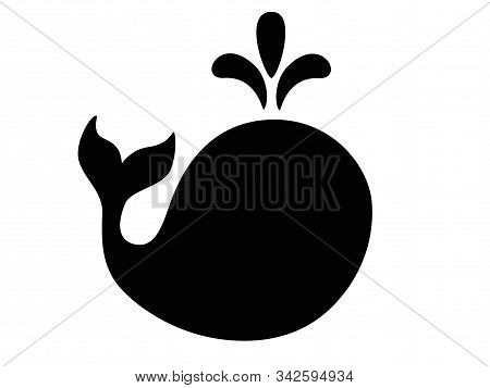 Whale Silhouette - Sign Or Icon. Logo - Sea Animal Whale. Vector Black Whale With A Fountain.