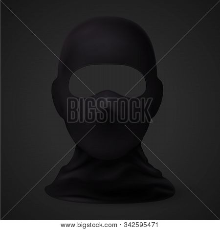 Balaclava Snowboarding Or Mountain Skiing Protective Wear On Black Background. Symbol Of Hacker, Ter