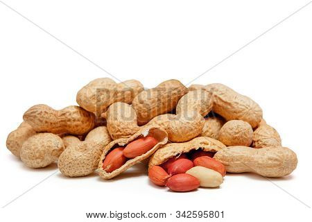 Large Peeled Peanuts Close-up Of Beans In The Shell Isolated On White Background . Unpeeled Peanuts